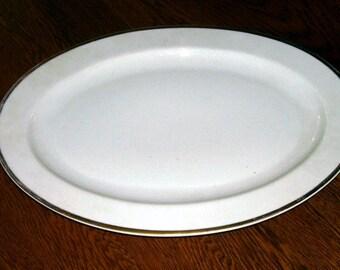 Antique Large White China Ironstone Goldena Serving Platter Gold Trim, Turin Bavaria, Turkey Platter, White China, Holiday Pleasure, Antique