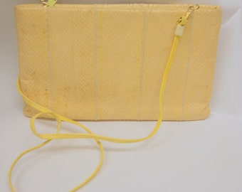Vintage Yellow LEather Snakeskin Clutch