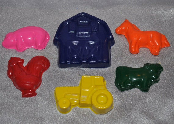 Recycled Crayons Farm Animals, Tractor and Barn, Total of 6 Crayons.