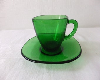Vintage Vereco Cup and Saucer France Emerald Green Demitasse Childs Miniature Set Forest