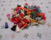 100pcs assorted color Silk/Satin Leather Tassels with Gold Color Cap, DIY Cell Phone or Available Earring Pendant Findings