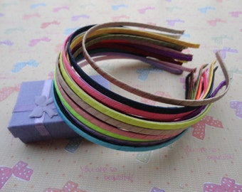 20pcs Metal Headbands 5mm assorted color(20 colors) covered by stain bent end