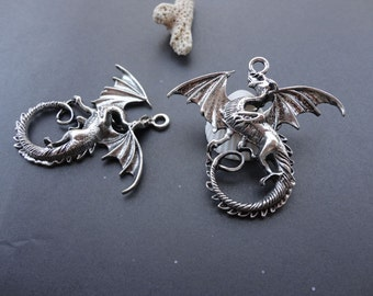 10pcs 44mmx47mm flying dragon with wing Antique Silver Retro Pendant Charm For Jewelry Pendant