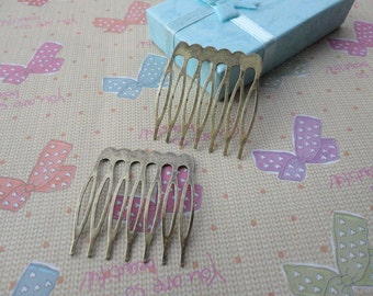 100 pcs Nickel Free Antique Bronze Plated Hair Comb with 7 Teeth Barrette Pin 37x40mm