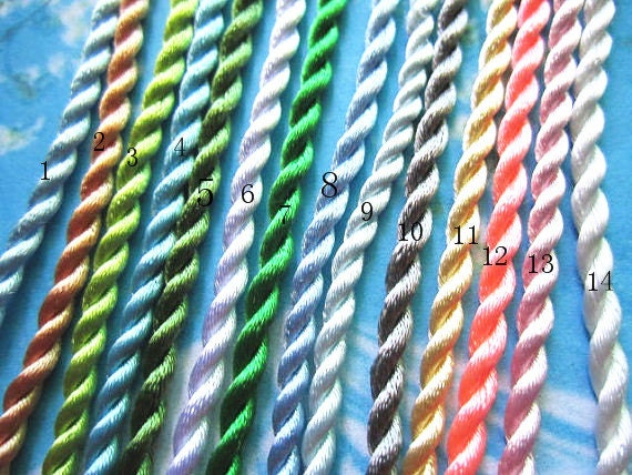 on sale 100pcs 18-22 inch 3mm assorted(more than  20 colors avaiable) twist silk necklace cords with ball and hole