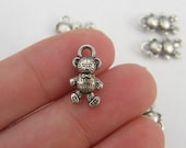 10 Teddy bear charms tibetan silver A189