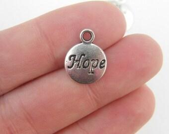 BULK 50 Hope charms antique silver tone M359
