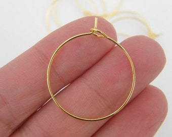 24 Wine glass charm hoops 29 x 25mm gold plated FS531
