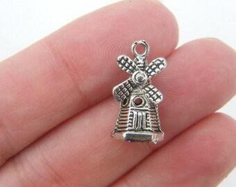 8 Windmill charms tibetan silver WT79