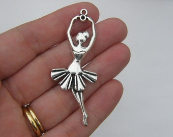 2 Ballerina pendants antique silver tone FB41