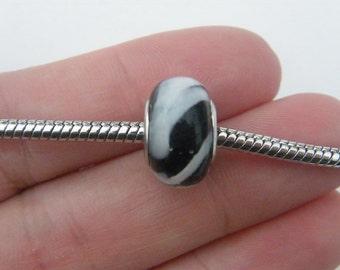 2 Black and white European charms bracelet bead 14 x 10mm B124