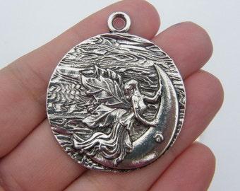 2 Fairy moon pendants antique silver tone FB4