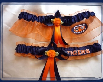 Orange Organza Wedding Garter Set Made with Auburn Fabric