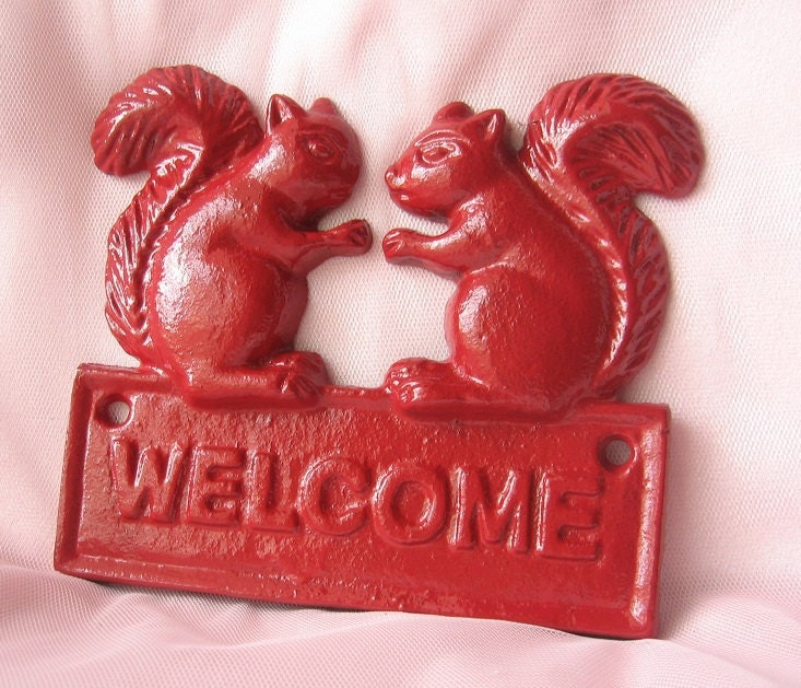 Cast Iron Squirrel Welcome Sign Plaque Painted By