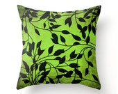 Decorative Square Throw Pillow - Black Vines on Emerald Green accent cushion, pillow cover, cushion cover, scatter cushion, sofa pillows