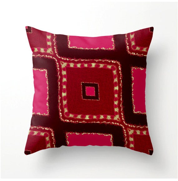 decorative throw pillow brick red hot pink moroccan style. Black Bedroom Furniture Sets. Home Design Ideas