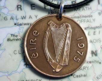 IRISH Harp Coin Pendant  ( 2 Pence Coin ) - Coin Jewelry w/ Real Leather Necklace &  Lobster Clasp - 4b2