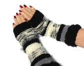 Black And White Fingerless Gloves - ArlenesBoutique