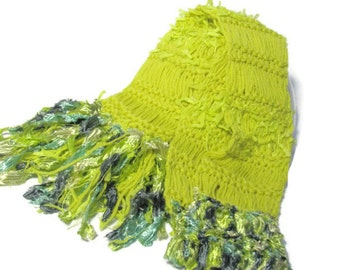 Fern Grotto Hand Knit Scarf - Lemongrass