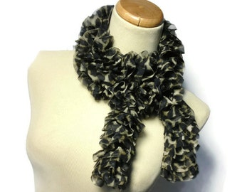Animal Print Scarf, Ruffle Scarf, Knit Scarf, Hand Knit Scarf, Gift For Her, Fashion Scarf, Brown Scarf, Womens Scarf, Fiber Art Scarf
