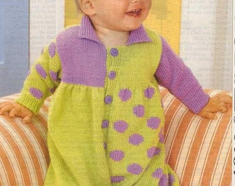 Baby KNITTING PATTERN - Knitted Romper for 6 mos and 12 months