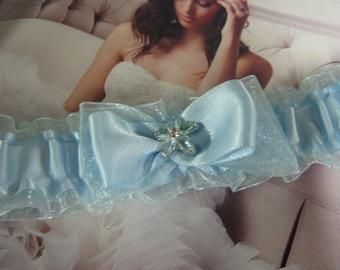 Pretty Blue Satin and Organza Garter