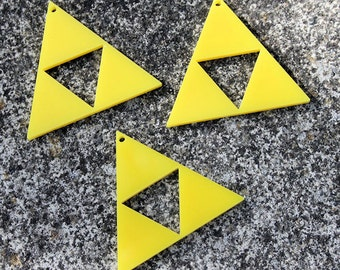 3 x Laser cut acrylic Delta Triforce charms