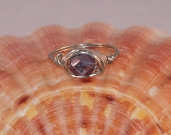 Silver Plated Wire Ring With Amethyst Faceted Czech Focal Bead