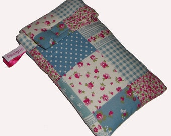 Pink & Pretty Patchwork Mobile Cellphone Ipod Gadget Case Pouch Sock PADDED