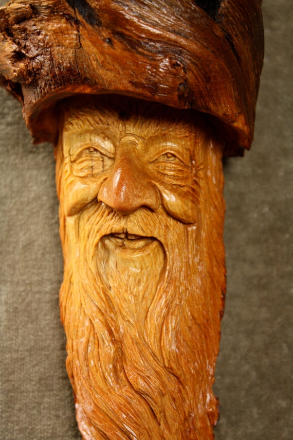 Wood spirit carving unique wooden christmas gift