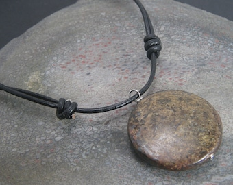 EARTH ROOTS Mens Necklace - Bronzite Stone Pendant Necklace - Unisex Adjustable Leather Necklace - Natural Stone Pendant - Gemstone Jewelry
