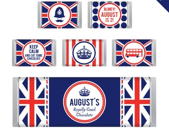 Union Jack party - Personalized DIY printable Hershey bar labels