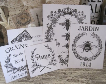 NEW french flea market assorted vintage labels black & white peel and stick