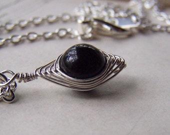 Black Onyx Necklace Silver Black Onyx Jewelry Herringbone Jewelry Wire Wrapped