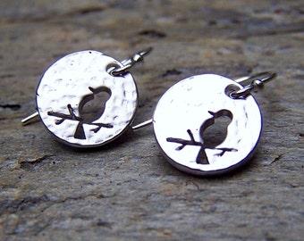Modern Earrings Minimalist Jewelry Silver Bird Little Tiny Sterling Silver