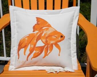 "Outdoor pillow GOLDFISH gold fish painted 20"" square all weather fishbowl fins scales pet aquarium Crabby Chris Original"