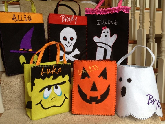 Personalized CUSTOM Kids TRICK or TREAT Halloween Bag