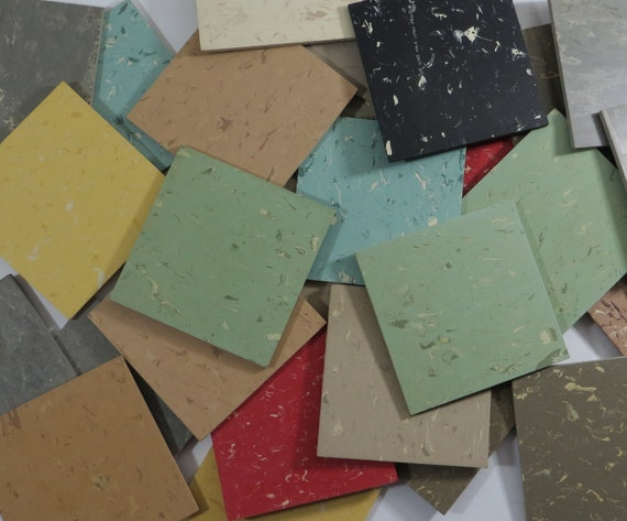 Vintage 1960 39 s rubber floor tile samples by armstrong for 1960s floor tiles