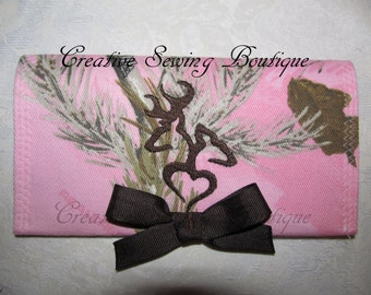 checkbook cover Pink Camo pink realtree checkbook cover he she  heart buck doe embroidery