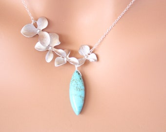 wedding bridal jewelry, Lovely elegant Blue Turquoise with Triple Orchid Necklace in silver, brides bridesmaid gifts , party wear jewelry