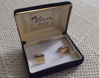Vintage Cuff Links 14K Gold Overlay Filene's Box