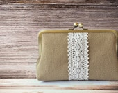 Bridesmaid Gift Ideas - Lace Burlap Wedding Clutch Country Shabby Chic Rustic - Personalized Clutches Handmade Burlap