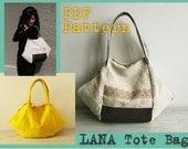 PDF Sewing Pattern to make Tote Bag Lana easy sewing tutorial
