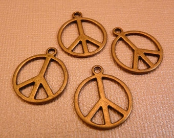 Peace Sign Beads Brass Peace Sign Brass Findings Brass Charms Peace Sign Charms Brass Beads Metal Beads Metal Charms
