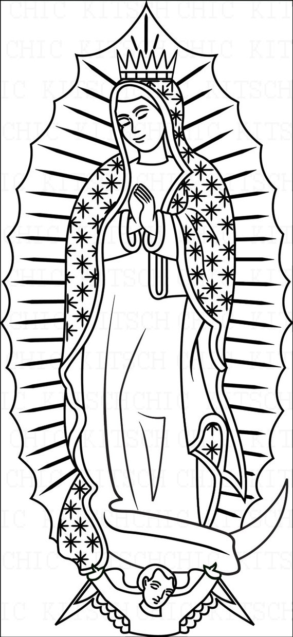 Items similar to color your own our lady of guadalupe for Virgen de guadalupe coloring pages