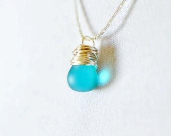 Tiny Frosted Teal Necklace, Teal Blue Teardrop Simple Silver Wire Wrap Jewelry, Ocean Blue Dangle, Beach Weddings