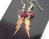 Red and Gold Lightning Bolt earrings Harry Potter