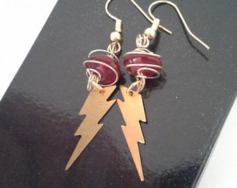 Red and Gold Lightning Bolt earrings Harry Potter