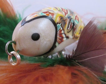 Fish Pendant, Fishing Lure, Fishing Lure Pendant, Polymer Clay Pendant, Fish Necklace, Polymer Clay Necklace