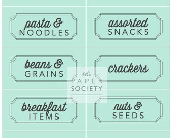 "Retro Blue ""Bins and Containers"" Pantry Labels Collection - Printable PDF - Kitchen Organization"